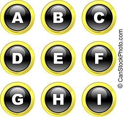 alfabeto, ícones