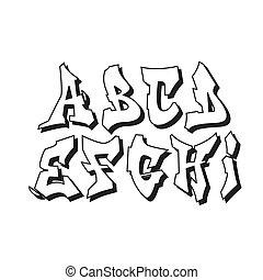 alfabeto, 1, parte, graffito, font, tipo