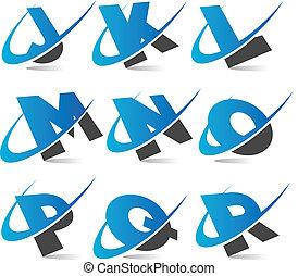 alfabeto, 2, conjunto, swoosh