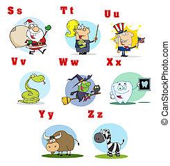 alfabeto, 3, cobrança, caricatura, engraçado