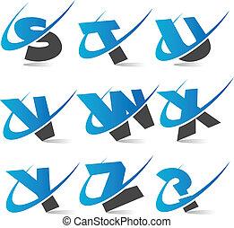 alfabeto, 3, jogo, swoosh