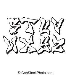 alfabeto, 3, parte, graffito, font, tipo