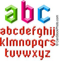 alfabeto, 3d, letras