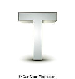 alfabeto, 3d, t, argento