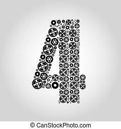 alfabeto, -, 4, gear-number