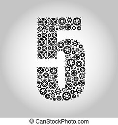 alfabeto, -, 5, gear-number