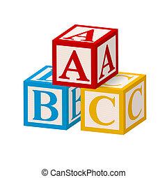 alfabeto, abc, blocco