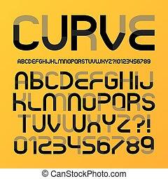 alfabeto, abstratos, curva, futurista