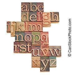 alfabeto, abstratos, em, madeira, fontes