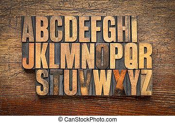 alfabeto, abstratos, em, vindima, madeira, tipo