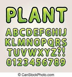 alfabeto, abstratos, verde, natureza