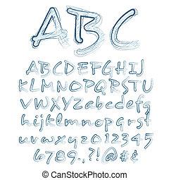 alfabeto, abstratos, vetorial, ilustração, sketched