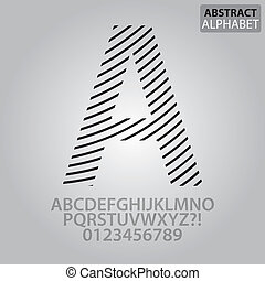 alfabeto, abstratos, vetorial, linha, números