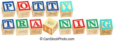alfabeto, addestramento, blocchi, potty