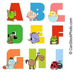 alfabeto, alegre, cobrança, caricatura