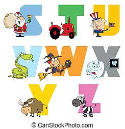 alfabeto, alegre, colección, caricatura