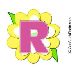 alfabeto, alfinete, r, flor, amarela