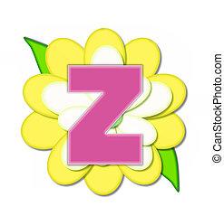 alfabeto, alfinete, z, flor, amarela
