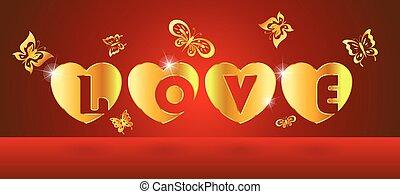 alfabeto, amor, en, corazón, oro, con, mariposa