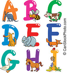 alfabeto, animais, caricatura