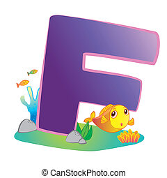 alfabeto, animal, f