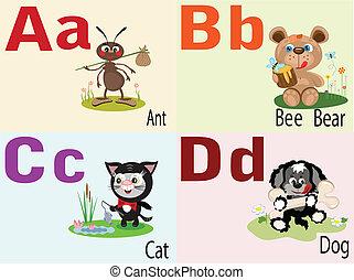 alfabeto, animal, un