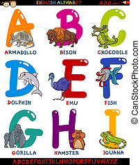 alfabeto, animali, cartone animato, inglese