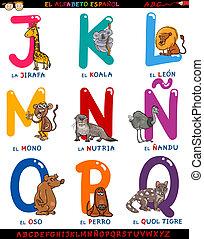 alfabeto, animali, cartone animato, spagnolo
