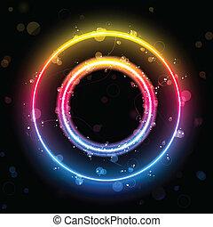 alfabeto, arco irirs, luces, en, círculo, botón