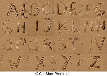 alfabeto, areia, praia., escrito