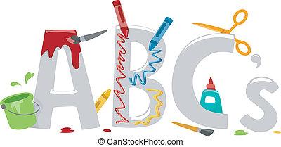 alfabeto, arte