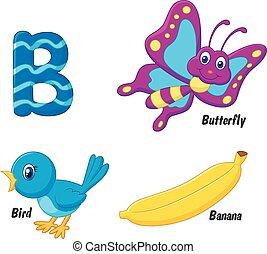 alfabeto, b, caricatura