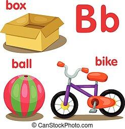 alfabeto, b, illustratore