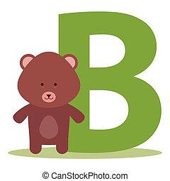 alfabeto, b, orso