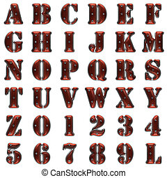 alfabeto, bianco, legno, metallo