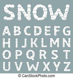 alfabeto, bianco, nevoso