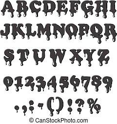 alfabeto, bianco, petrolio, isolato, fondo