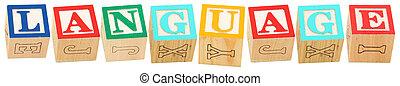 alfabeto blocca, lingua
