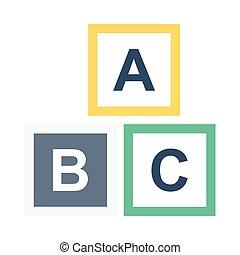 alfabeto bloqueia, apartamento, ícone