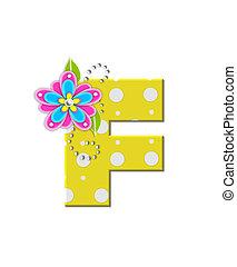 alfabeto, bonny, flores, f