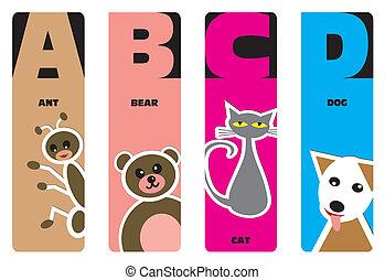 alfabeto, bookmarks, animale, -