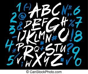 alfabeto, brush., scritto, lettere