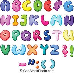 alfabeto, burbuja, 3d
