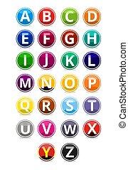 alfabeto, círculo, botão