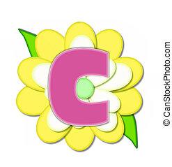 alfabeto, c, flor, alfinete, amarela