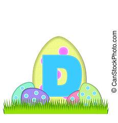alfabeto, caça, ovo, d, grande