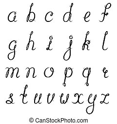 alfabeto, caligrafia, pretas