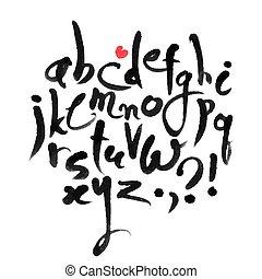alfabeto, calligraphical, vector, latín