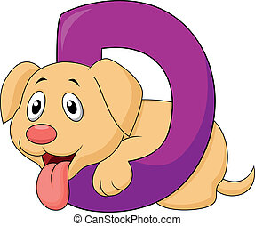 alfabeto, cane, cartone animato, d