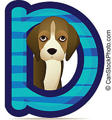 alfabeto, cane, d